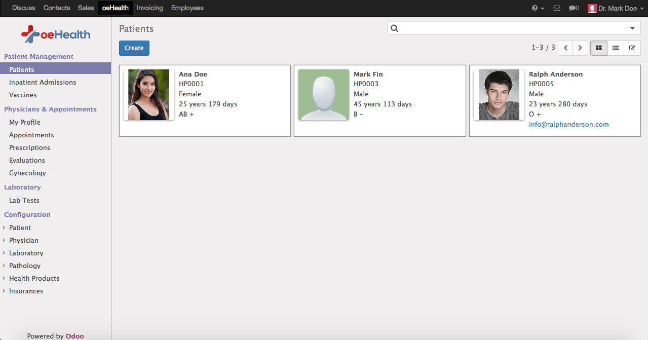 Odoo 9 Patient List
