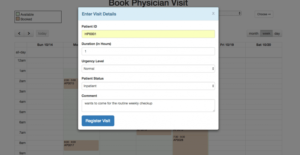 oeHealth - Online Appointment Booking Form