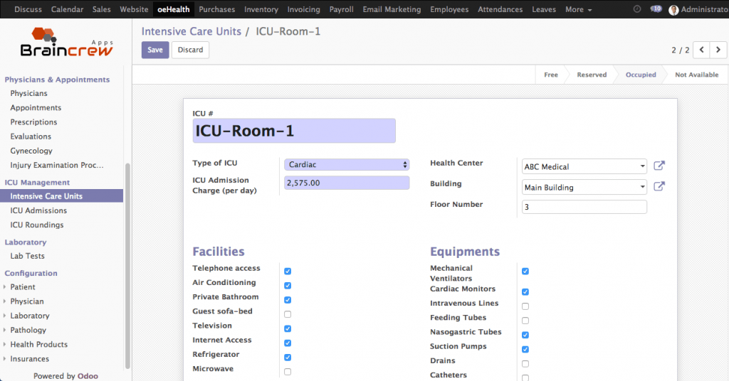 oeHealth - ICU Configuration